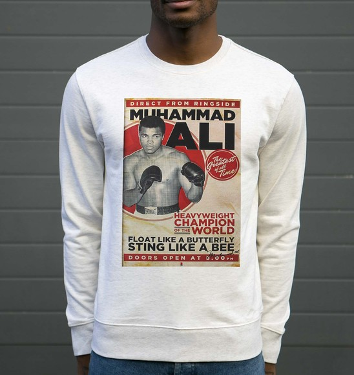 Sweat pour Homme Muhammad Ali de couleur Beige chiné