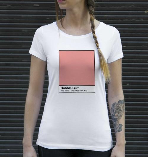 T-shirt pour Femme Femme Bubble Gum de couleur Blanc