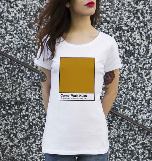 T-shirt pour Femme Femme Camel Walk Kush de couleur Blanc