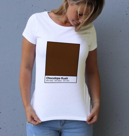 T-shirt pour Femme Femme Chocolope Kush de couleur Blanc