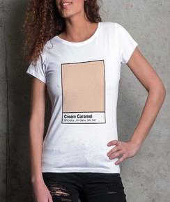 T-shirt à col rond Femme Cream Caramel