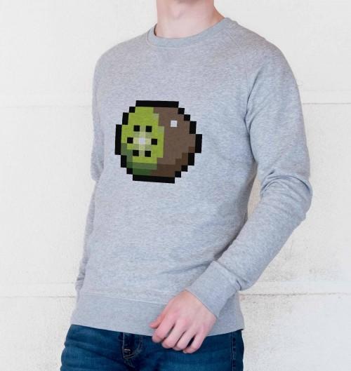 Sweat pour Homme Kiwi Pixel de couleur Gris chiné