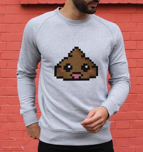 Sweatshirt pour Homme Pixel Poop de couleur Gris chiné