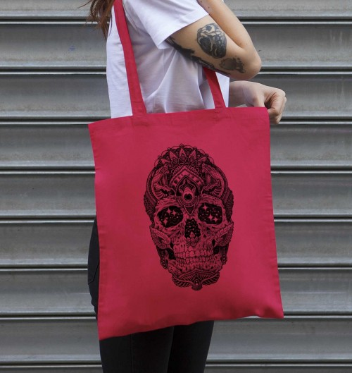 Tote Bag Cosmic Skull de couleur Cranberry