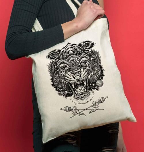 Tote Bag Cosmic Tiger de couleur Crème