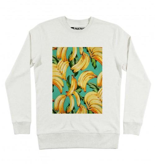 Sweat pour Homme Motifs Bananes de couleur Beige chiné