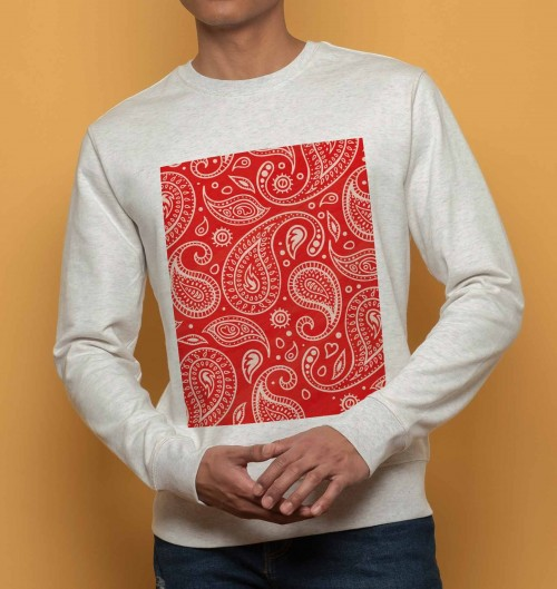 sweat bandana rouge sweatshirt motif paisley grafitee. Black Bedroom Furniture Sets. Home Design Ideas