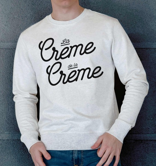 Sweat pour Homme La Crème De La Crème de couleur Beige chiné