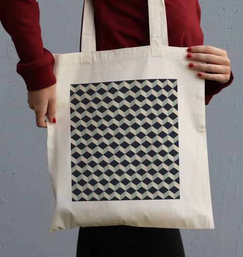 Tote Bag Motifs Cube 3D de couleur Crème