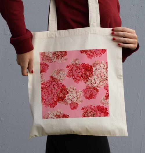 Tote Bag Fleurs Roses de couleur Crème