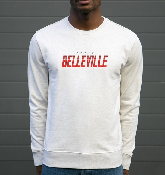 Sweat pour Homme Paris Belleville de couleur Beige chiné