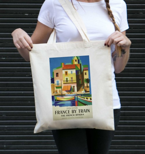 Tote Bag France By Train de couleur Crème
