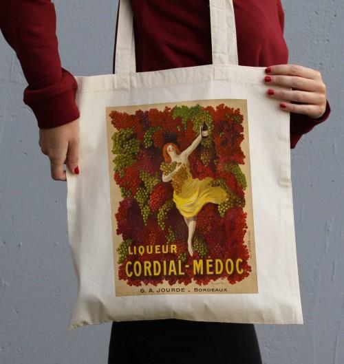 Tote Bag Liqueur Cordial Médoc de couleur Crème