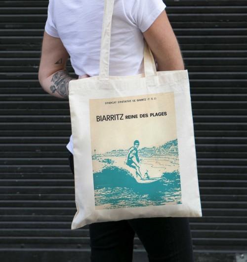 Tote Bag Biarritz Reine Des Plages de couleur Crème