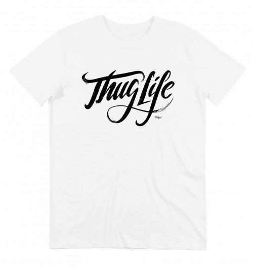 T-shirt pour Homme Thug Life de couleur Blanc