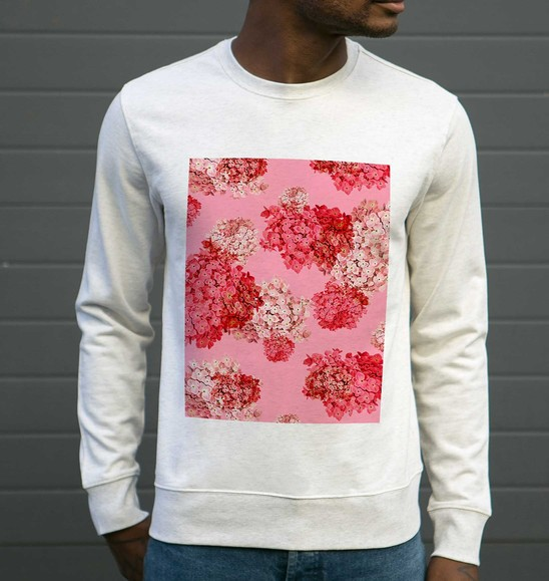 Sweat pour Homme Fleurs Roses de couleur Beige chiné