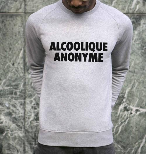 Sweat pour Homme Alcoolique Anonyme de couleur Gris chiné