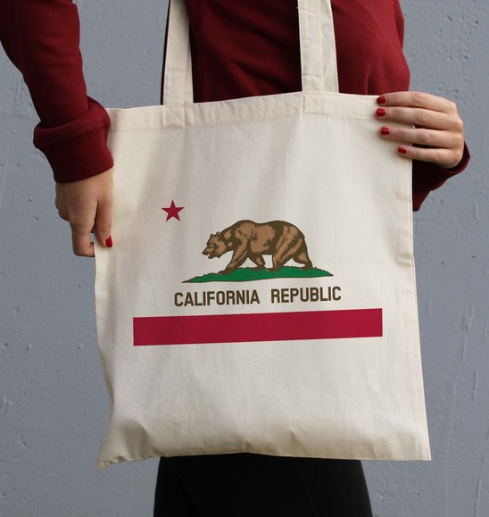 Tote Bag California Republic de couleur Crème
