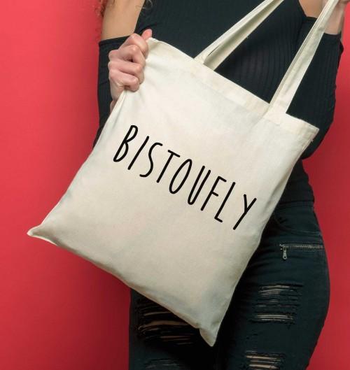Tote Bag Bistoufly de couleur Crème