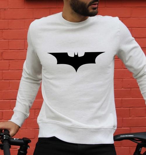 Sweat pour Homme Logo Batman de couleur Beige chiné