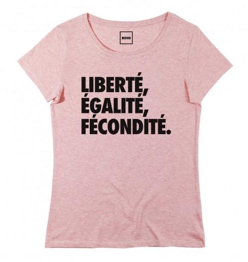 T-shirt pour Femme Femme Liberté, Egalité, Fécondité de couleur Rose chiné