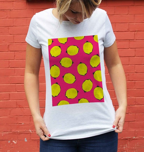 T-shirt pour Femme Femme Citrons de couleur Blanc