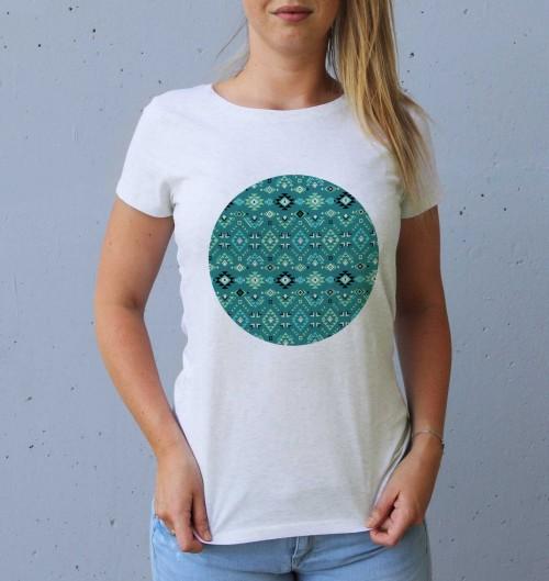 T-shirt pour Femme Femme Motifs Ethniques de couleur Blanc