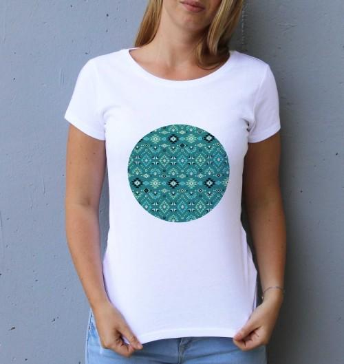 T-shirt pour Femme Femme Motifs Aztèques de couleur Blanc