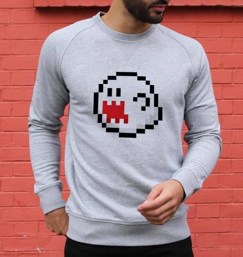 Sweat pour Homme Boo Pixel de couleur Gris chiné