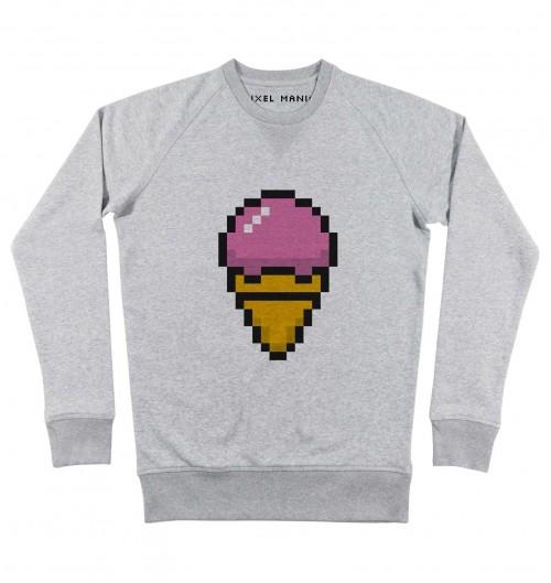 Sweat pour Homme Glace Pixel de couleur Gris chiné