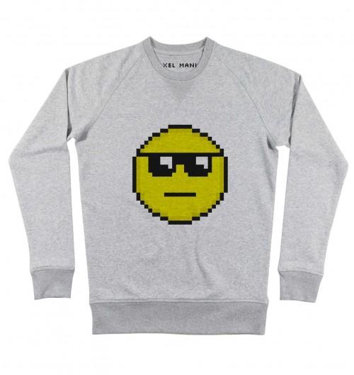 Sweat pour Homme Pixel Smiley Soleil de couleur Gris chiné