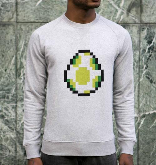 Sweat pour Homme Pixel Yoshi de couleur Gris chiné