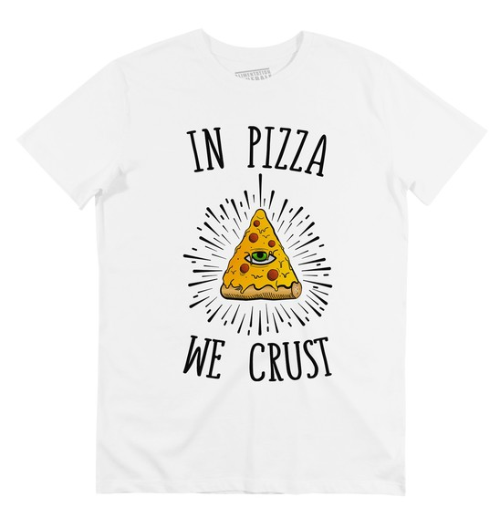 T-shirt pour Homme In Pizza We Crust de couleur Blanc