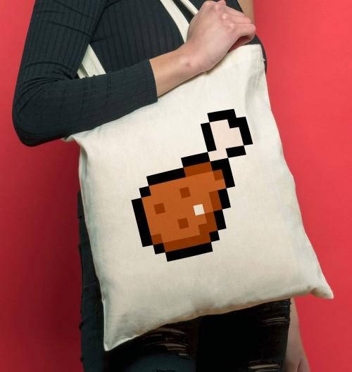 Tote Bag Pixel Chicken de couleur Crème