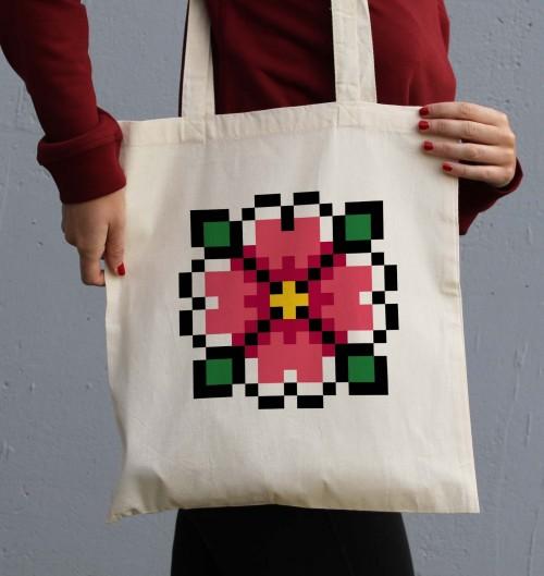 Tote Bag Pixel Fleur de couleur Crème