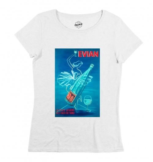 T-shirt pour Femme Femme Evian de couleur Blanc