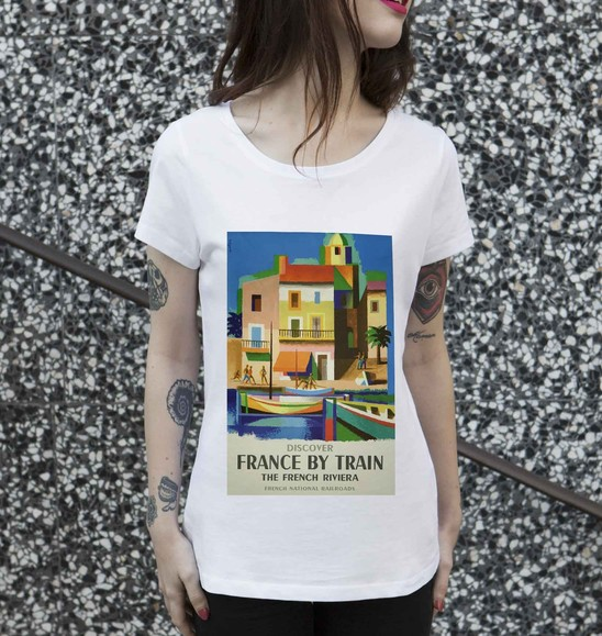 T-shirt pour Femme Femme France By Train de couleur Blanc