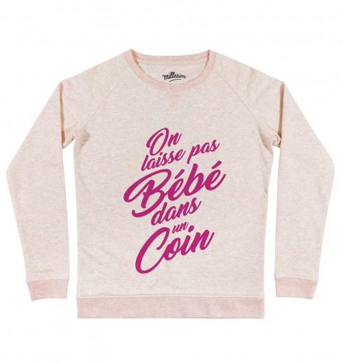 Sweat On Laisse Pas Bébé pour Femme de couleur Rose chiné