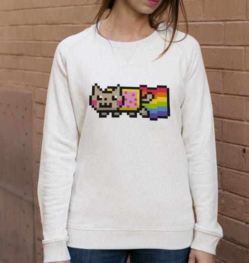 Sweat pour Femme Femme Nyan Cat de couleur Beige chiné