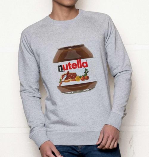 Sweat pour Homme Nutella de couleur Gris chiné