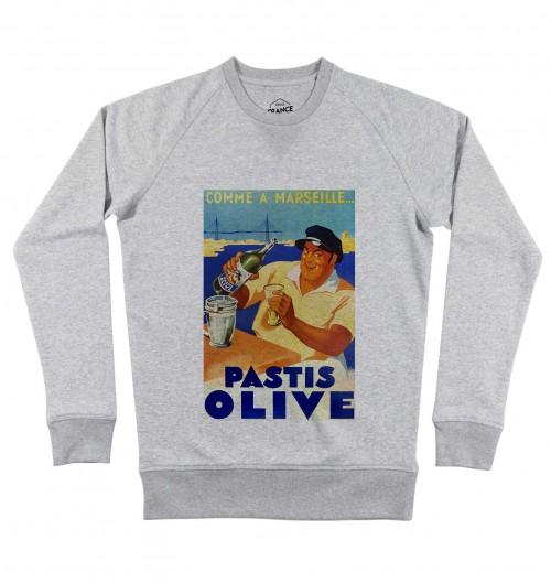 Sweat pour Homme Pastis Olive Marseille de couleur Gris chiné