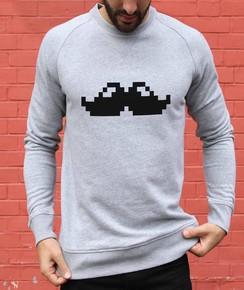 Sweat à col rond Pixel Moustache