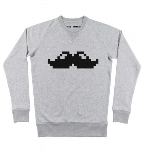 Sweat pour Homme Pixel Moustache de couleur Gris chiné