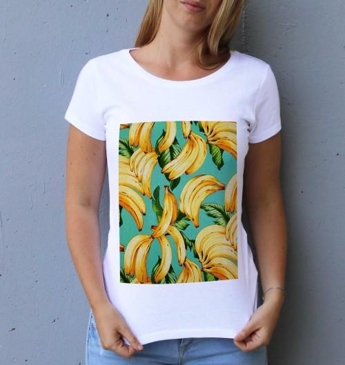 T-shirt pour Femme Femme Motif Bananes de couleur Blanc