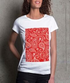 T-shirt à col rond Femme Bandana Rouge