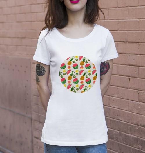 T-shirt pour Femme Femme Motifs Fruits d'Été de couleur Blanc