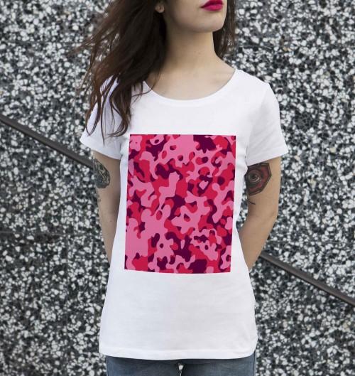 T-shirt pour Femme Femme Camo Rose de couleur Blanc