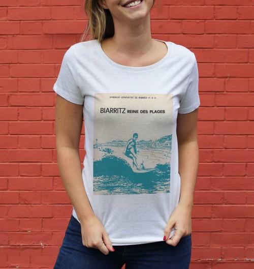T-shirt pour Femme Femme Biarritz Reine des Plages de couleur Beige chiné