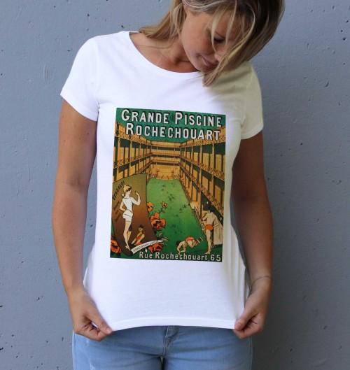 T-shirt pour Femme Femme Piscine Rochechouart de couleur Blanc