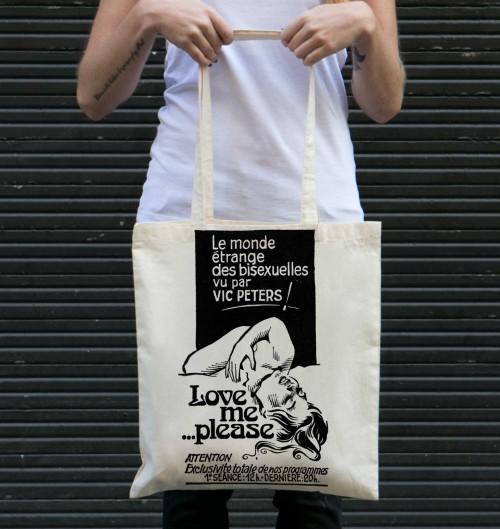 Tote Bag Love Me Please de couleur Crème